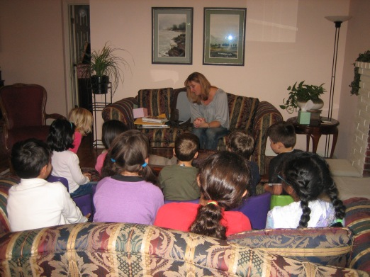 """Guest reader, Sue Fliess, reading from her book """"Shoes for Me."""""""